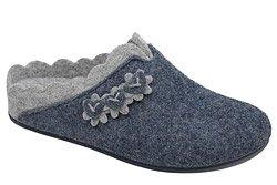 Kapcie MANITU 320697-5 Granatowe Pantofle domowe Ciapy