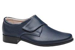 Półbuty komunijne wizytowe buty KMK 260 Granatowe na rzepy