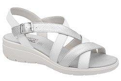 Włoskie Sandały IMAC 708130 Białe Srebrne na Haluksy