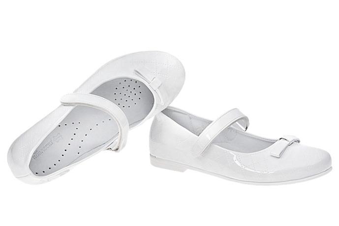 Balerinki buty komunijne KORNECKI 4431 Białe Lakierki