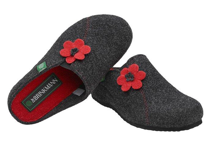 Kapcie Dr BRINKMANN 330162-9 Antracytowe Pantofle domowe Ciapy