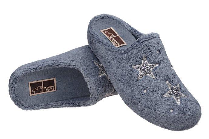 Kapcie MANITU 320576-5 Jeans Popiel Pantofle domowe Ciapy