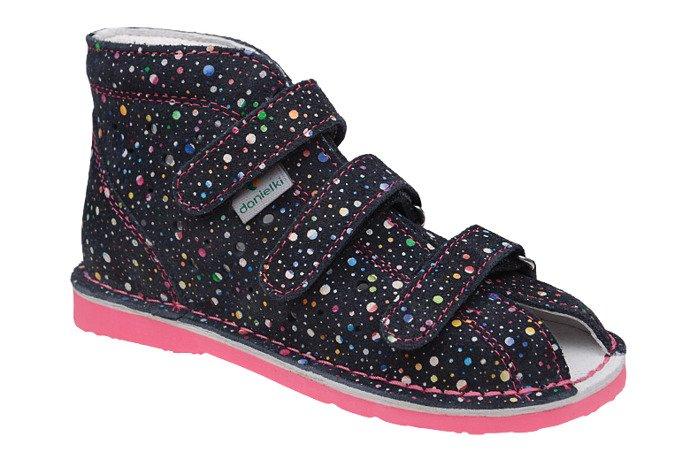 Kapcie profilaktyczne buty DANIELKI T125L T135L Kropki Granat F