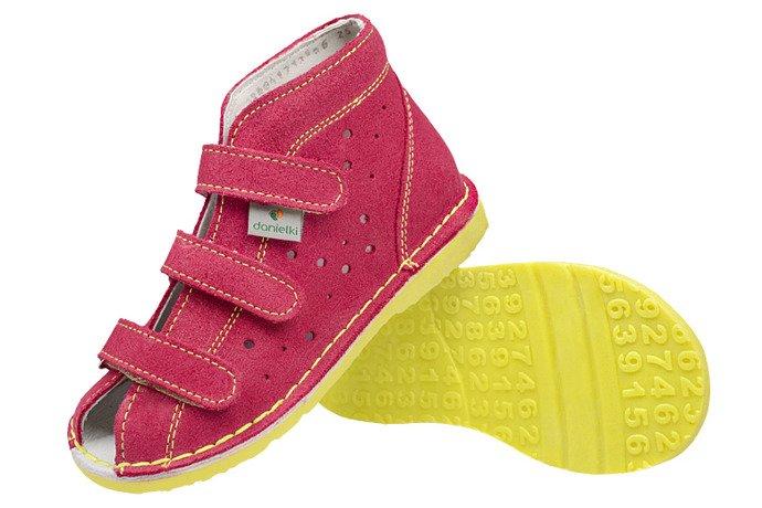 Kapcie profilaktyczne buty DANIELKI TA125 TA135 Fuksja Żółty