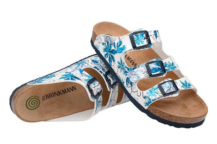 Klapki Dr Brinkmann 701153-3 Białe Niebieskie