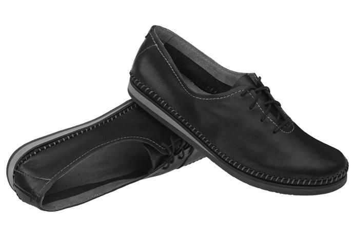 Mokasyny sznurowane buty SIMEN 6870 Czarne