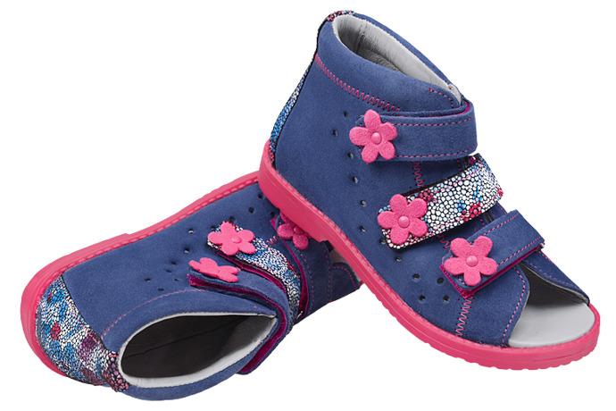 Sandałki Profilaktyczne Ortopedyczne Buty DAWID 1042 Granat+Róż GJPK