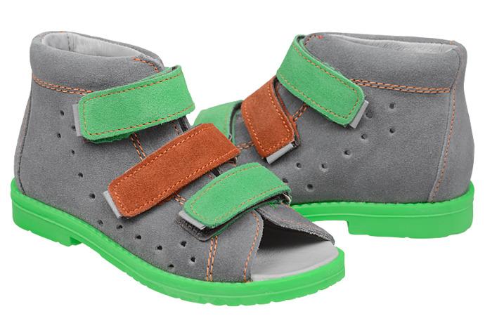 Sandałki Profilaktyczne Ortopedyczne Buty DAWID 1042 Szary SZOL