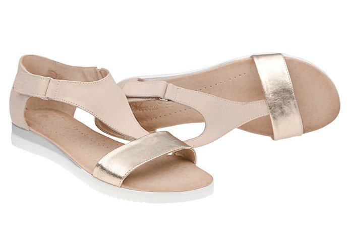 Sandały damskie VERONII 5208 Beż+Złoto