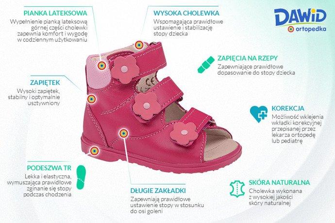 Trzewiki Profilaktyczne Ortopedyczne Buty DAWID 953-1 RC Różowe